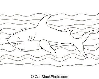 animals., libro, silhouette, fish., buono, libri, adulti, serie, vettore, minimalismo, marino, semplice, coloritura, bambini, squalo, waves., linee, bello