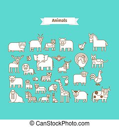 Animals Line Art Vector Icons