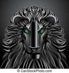 animals lion black technology cyborg metal robot - animals...