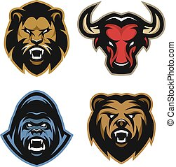 Animals  logos. Lion, bull, gorilla, bear.