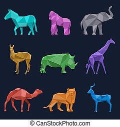 Animals low poly vector