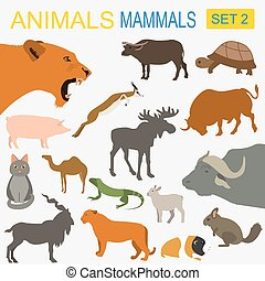 Animals mammals icon set. Vector