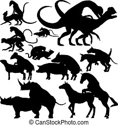 Animals mating - Set of editable vector silhouettes of...
