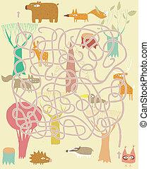 Animals Maze Game. Solution in hidden layer!