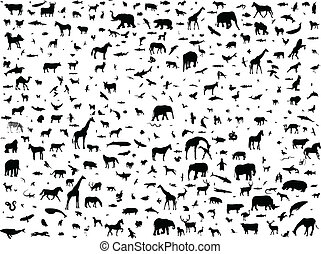 Animals mix collection silhouette - vector