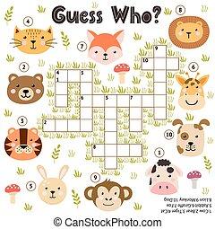 animals., mots croisés, deviner, pédagogique, jeu, activité...