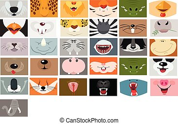 Animals mouth vector set on white background. Fase mask