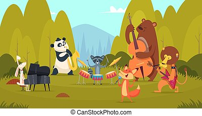 Animals musicians in forest. Music band playing on instruments in the green meadow zoo vocal entertainment voice band vector background