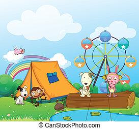 Animals near the ferris wheel