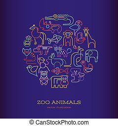 Animals Neon round shape