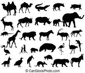 Animals of Africa - Collection of silhouettes of animals...