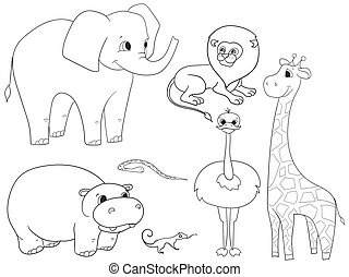 Animals of Africa object coloring vector for adults