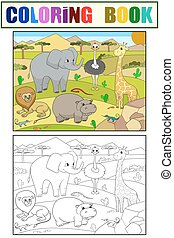 Animals of Africa savanna coloring vector for adults - ...
