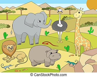 Animals of Africa savanna vector for adults