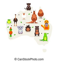 Animals of Australia, cute cartoon characters in flat style, vector illustration