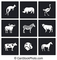 Animals of the Australian continent icons set. Vector Illustration.