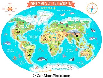 Animals of The World Flat Design Vector Concept