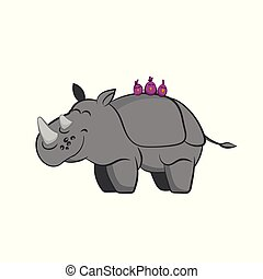 Animals of zoo. Rhinoceros with birds on the back in cartoon style. Isolated cute character