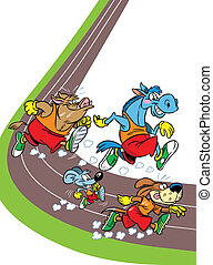 The illustration shows some species of animals who compete, who faster runs. Illustration done in cartoon style, on separate layers