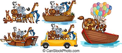 Animals on different types of transportation