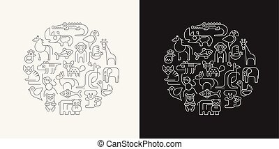 Animals outline vector illustration