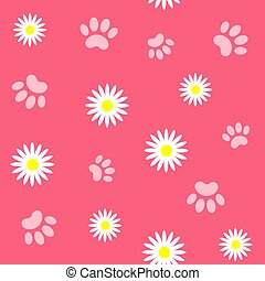 Animals paws and flowers seamless pattern.
