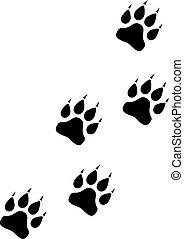 Animals paws walkway icon on white background