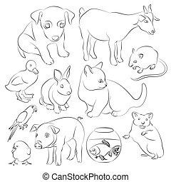 Animals pets vector icons set