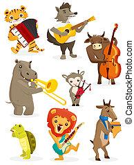 Animals playing intruments, illustration