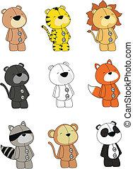 animals plush cartoon set in vector format