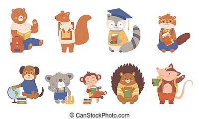 Animals read books vector illustration, cartoon flat clever animalistic booklover characters collection with zoo or pet students or pupils isolated on white