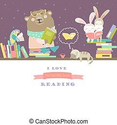 Animals reading books on bookshelves