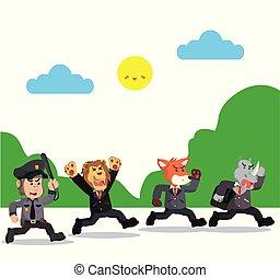 animals running from police vector illustration design