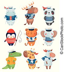 Animals sailors characters in cartoon style. Set of cute...