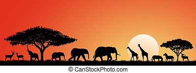 Animals savannah - Silhouettes of wild animals of the ...