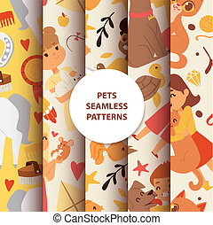 Animals seamless pattern with kids characters and little pets vector illustration.