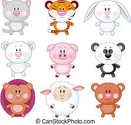 Animals set A - Cute animals cartoon set. Vector