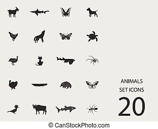 Animals set of flat icons. Vector illustration