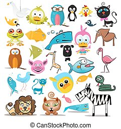 Animals Set. Vector Animal Collection Isolated on White Background.