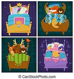 Animals sleeping in bed fairytale pets asleep set vector....