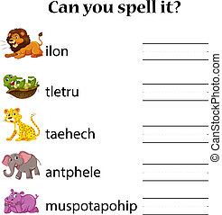 Animals spell word worksheet illustration