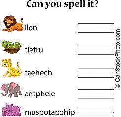 Animals spell word worksheet illustration
