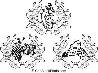 animals stencil set - Illustration