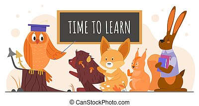 Animals study at school vector illustration, cartoon flat owl teacher with pointer teaching wild forest pupil animal characters isolated on white