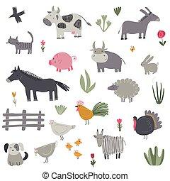 animals., tanya, húzott, kéz, vektor, csinos, gyűjtés