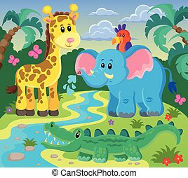 Animals topic image 1 - eps10 vector illustration.