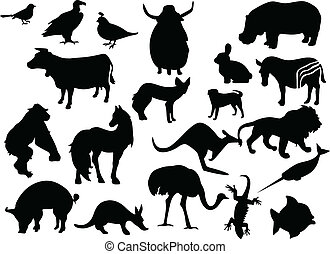 Animals vector black silhouettes. One click color change -...