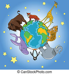 Animals - Vector illustration of animals around planet...