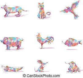 Animals Vector in Farm Colorful Shape