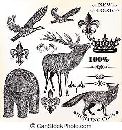 Animals vector set hunting season